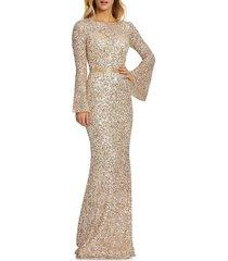 mac duggal women's bell-sleeve sequin column gown - navy multi - size 0