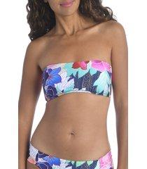 women's trina turk opulent oasis bandeau bikini top, size 12 - purple