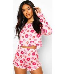 pyjama set met shorts, lippen en franjes, roze