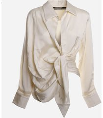 jacquemus asymmetrical draped shirt with knot