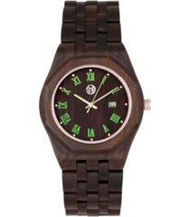earth wood baobab wood bracelet watch w/date brown 46mm