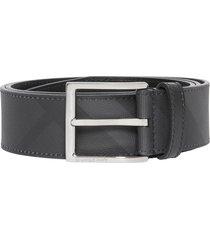 men's burberry london check belt, size 110 eu - dark charcoal/ black