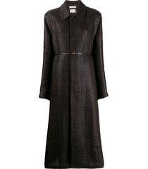 bottega veneta intrecciato woven tailored coat - brown