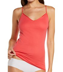 hanro seamless v-neck cotton camisole, size large in geranium at nordstrom