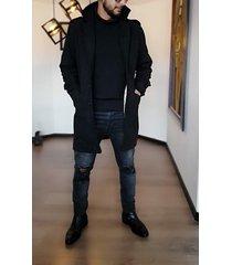 abrigo cashmere outfit para hombre negro