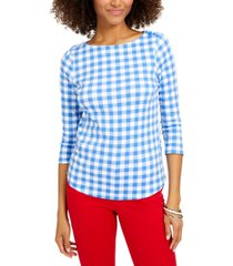 charter club plus size cotton gingham-print top, created for macy's