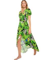 mc2 saint barth black tropical print long dress