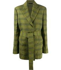acne studios checkered belted waist blazer - green