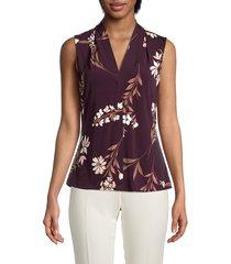 calvin klein women's floral v-neck sleeveless top - aubergine multi - size l