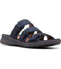 women's clarks unadorn lane slide sandal, size 5.5 m - blue
