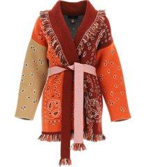 alanui cashmere cardigan with bandana motif
