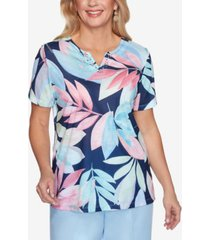alfred dunner women's missy classics s1 tropical leaves short sleeve top