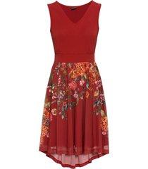 abito di jersey con gonna in mesh (rosso) - bodyflirt