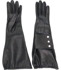 manokhi medium snap-buttoned gloves - black