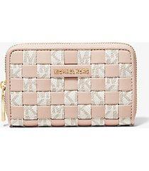 mk portafoglio piccolo in tessuto con logo - vanilla/soft pink - michael kors