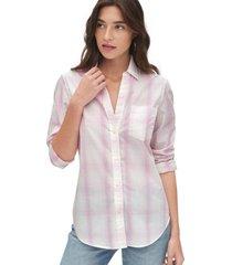 blusa boyfriend cuadros rosa gap