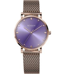 benson watch company's unisex handcrafted cardinal rose gold-tone bracelet watch 37mm
