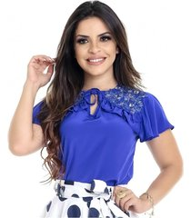 blusa miss lady azul com bordados pedrarias