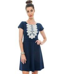 vestido curto jogabe azul marinho com guipir