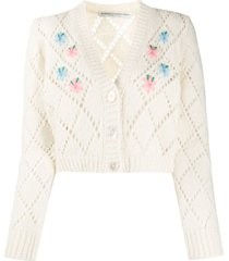 alessandra rich embroidered pointelle knit cardigan - white