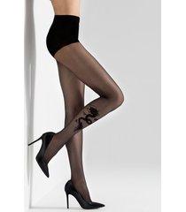 natori dragon sheer tights, women's, black, size l natori