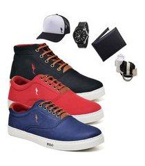 kit 3 pares sapatênis polo blu casual cano alto e cano baixo preto/vermelho/azul acompanha carteira + relógio + cinto + meia + boné