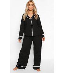 plus jersey pyjama set met lange mouwen en knopen, zwart