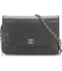 chanel cc caviar wallet on chain black sz: