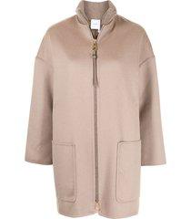 agnona cashmere zipped coat - brown