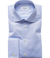 eton lichtblauw overhemd dubbel manchet slim fit