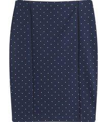 falda media estampada color azul, talla l