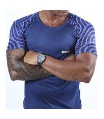 camiseta dry fit crepe azul marinho sublimada masculina