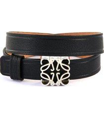 anagram logo buckle leather bracelet