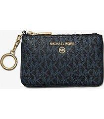 mk porta carte di credito extra-small con logo e portachiavi - blu ammiraglio/blu pallido (blu) - michael kors