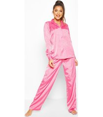 jaquard satin long sleeve pyjama set, pink