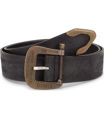 diesel men's b-post tex leather belt - black - size 90 (36)