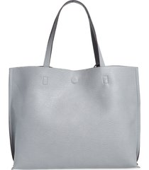 street level reversible faux leather tote & wristlet in grey/light grey at nordstrom