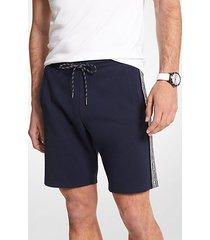 mk shorts in misto cotone con fettuccia con logo - notte (blu) - michael kors