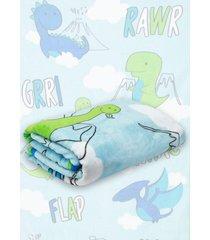 cobertor solteiro lepper dino azul claro 1,50 x 2,20 - azul - menino - dafiti