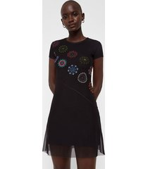 short sleeve dress tulle and mandalas - black - xl