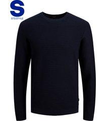 jack & jones blauw trui katoen met structuur ronde hals