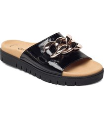 pantolette shoes summer shoes flat sandals svart gabor