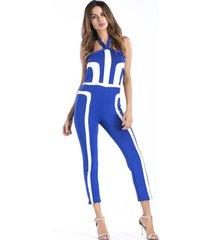 mono de verano de color sólido azul impreso pantalones de una sola pieza