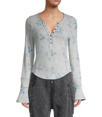 free people women's ribbed long-sleeve top - just peachy - size xl