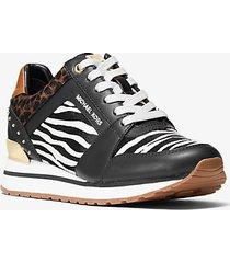 mk sneaker billie in pelle e pelle effetto cavallino stampa animalier - nero/bianco (nero) - michael kors