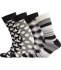 black and white gift box underwear socks regular socks svart happy socks