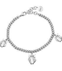 bracciale gufi in acciaio rodiato e cristalli per donna