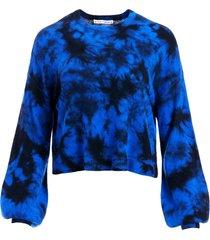 alice+olivia ansley tie-dye cashmere jumper - blue
