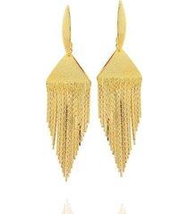 brinco dona diva semi joias franjas feminino