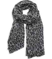 portolano women's animalier wrap leopard-print wool-blend scarf - grey